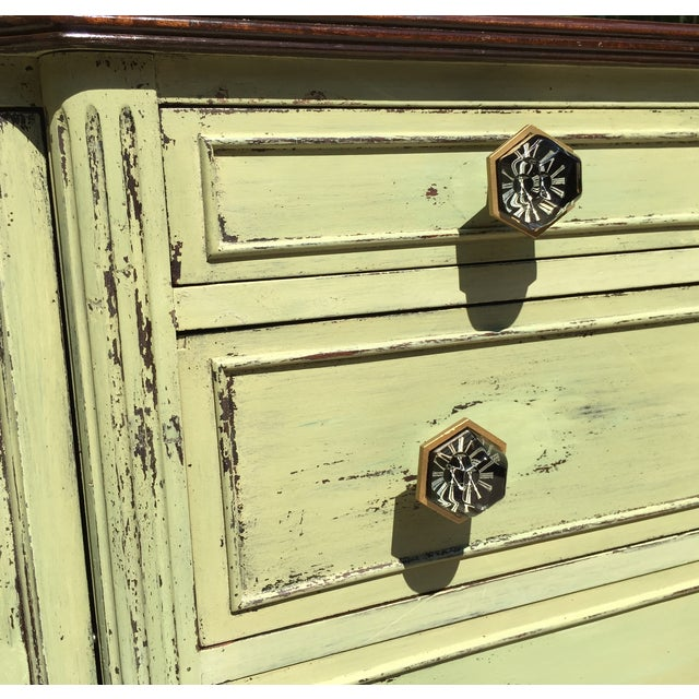 Vintage Green Milk Paint Buffet Sideboard Credenza For Sale - Image 5 of 11