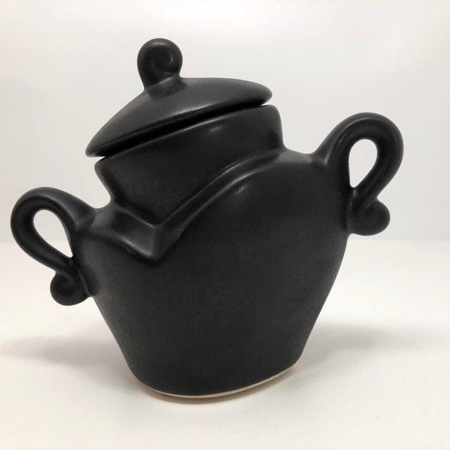 "Michael Lambert ""Java Jig"" Black Glazed Porcelain Sugar Bowl For Sale - Image 10 of 13"