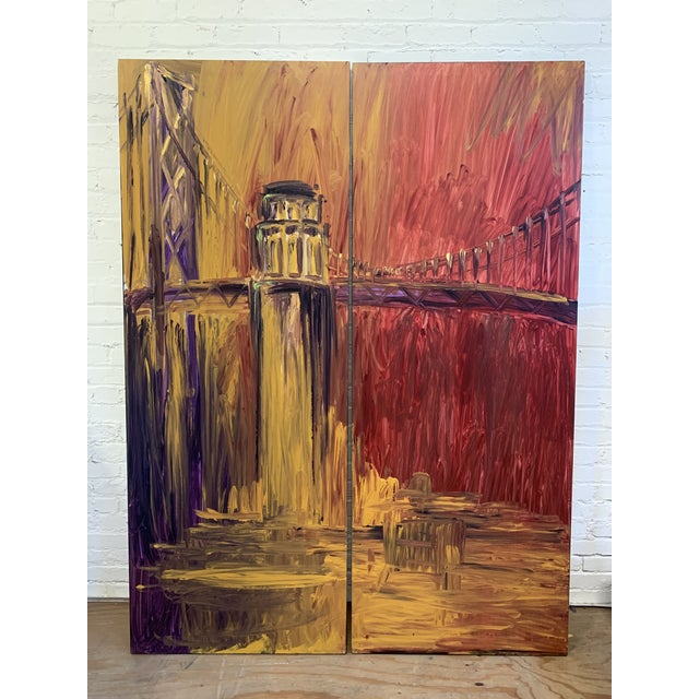 Warren Knapp Original Oil Painting Diptych of San Francisco's Coit Tower + Bay Bridge For Sale - Image 10 of 10