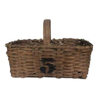 1950s American Oak Basket with Handle and Stencil For Sale