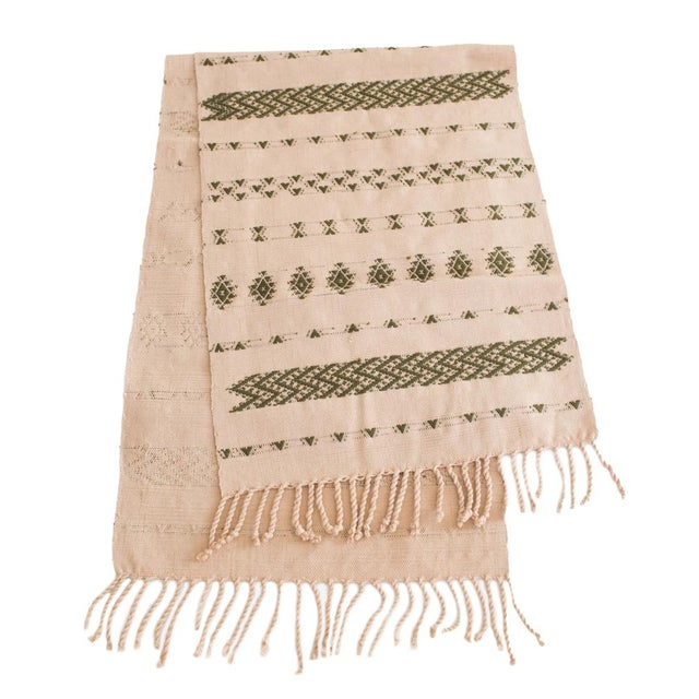 Handwoven Guatemalan Dusty Rose and Olive Green Table Runner For Sale In Austin - Image 6 of 6