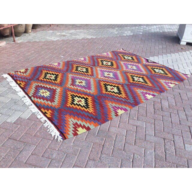 Boho Chic Colorful Turkish Kilim Rug For Sale - Image 3 of 8