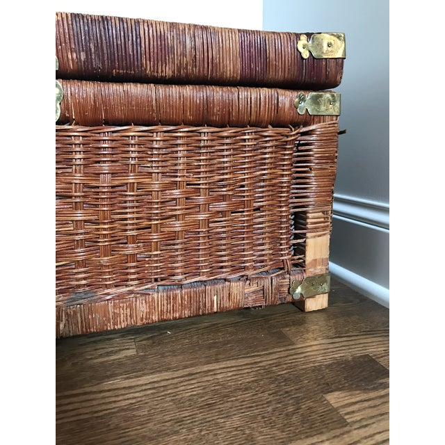 Boho Chic Vintage Brass and Wicker Trunk For Sale - Image 3 of 10