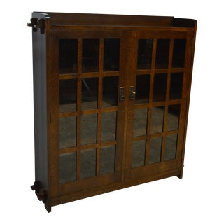 Stickley Mission Style Oak Double Bookcase For Sale