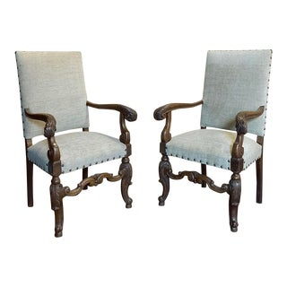 Pair 19th Century French Louis XIV Armchairs For Sale