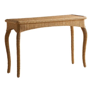 Elegant Wicker Console Table For Sale