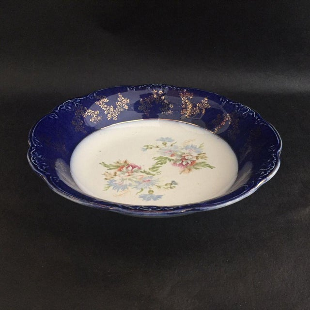 """Antique English Porcelain Dark Blue with Flower and Gold Decoration Serving 9""""D X 2""""H Bowl Makers mark reads """"TRENT WOOD &..."""