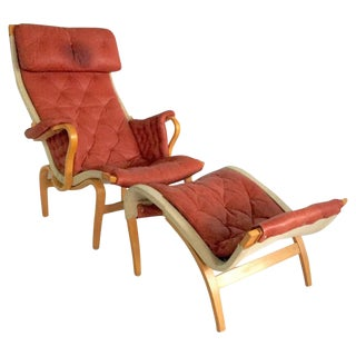 "Bruno Mathsson for DUX ""Pernilla"" Leather and Bentwood Lounge Chair and Ottoman"