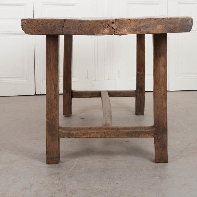 French French 19th Century Oak Farmhouse Trestle Table For Sale - Image 3 of 11