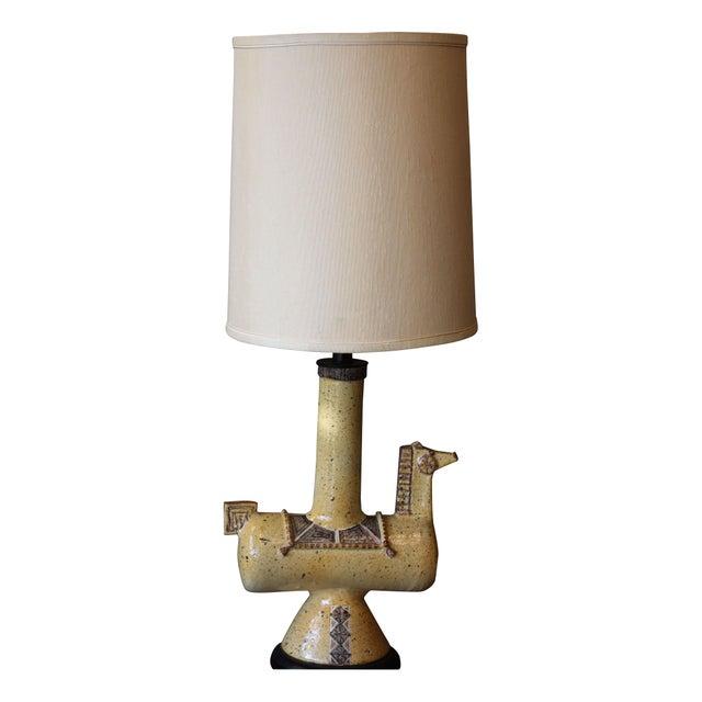 1960s Italian Gambone-Style Ceramic Horse Lamp For Sale