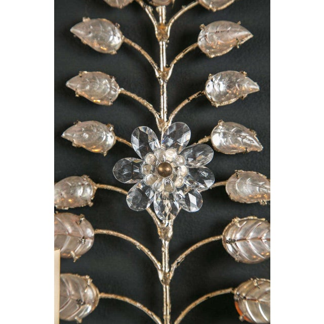 Glass 1930s French Crystal and Silver Leaf Sconces - a Pair For Sale - Image 7 of 8