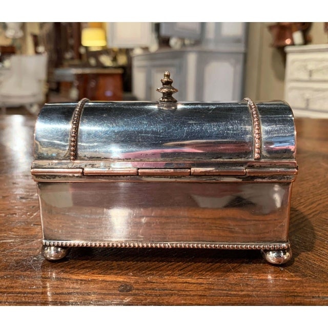 19th Century French Silver Plated Over Copper Casket Inkwell For Sale - Image 9 of 12