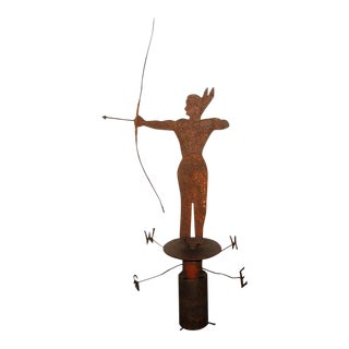 Rare 19th Century Original Painted Iron Indian Weathervane with Stand For Sale
