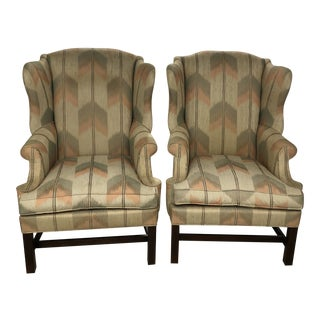 Vintage Henredon Upholstered Wingback Chairs - a Pair For Sale