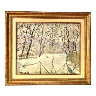 """Original Signed Oil on Canvas by Andre Bouquet Titled """"Bords De L'Yerres"""" 1973 For Sale"""