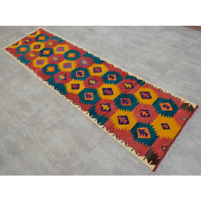 "Turkish Hand Woven Wool Nomad Runner Rug - 2'6"" X 9'1"" - Image 2 of 8"