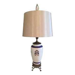 Antique Chinese Export Armorial Lamp With Silk Shade For Sale