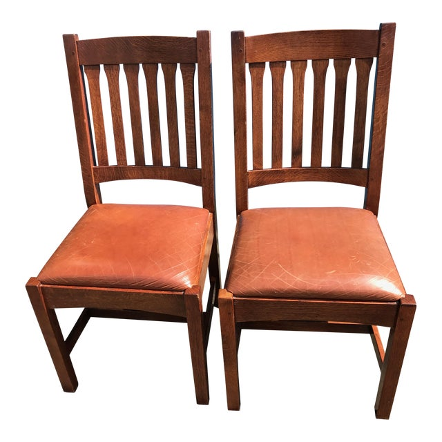 Stickley Mission Cottage Oak & Leather Side Chairs - A Pair - Image 1 of 11