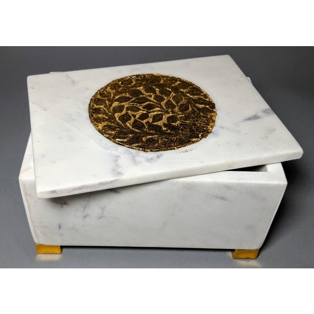 Metal Gold and White Decorative Box For Sale - Image 7 of 13
