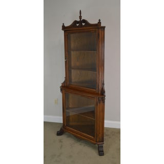 Antique Victorian Oak Corner China Display Cabinet Preview