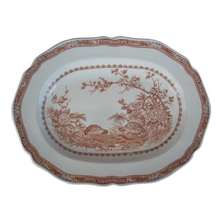 English Quail Motif Oval Platter For Sale