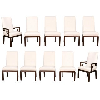 Elegant Restored Set of Ten Parsons Style Dining Chairs by Baker, Circa 1970 For Sale