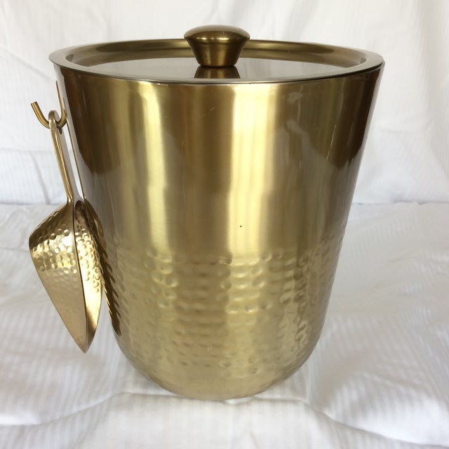 Contemporary Gold Anodized Double Insulated Ice Bucket and Ice Scoop For Sale - Image 3 of 13