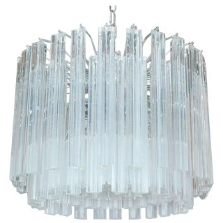 Italian Murano Glass Crystals Chandelier by Venini For Sale