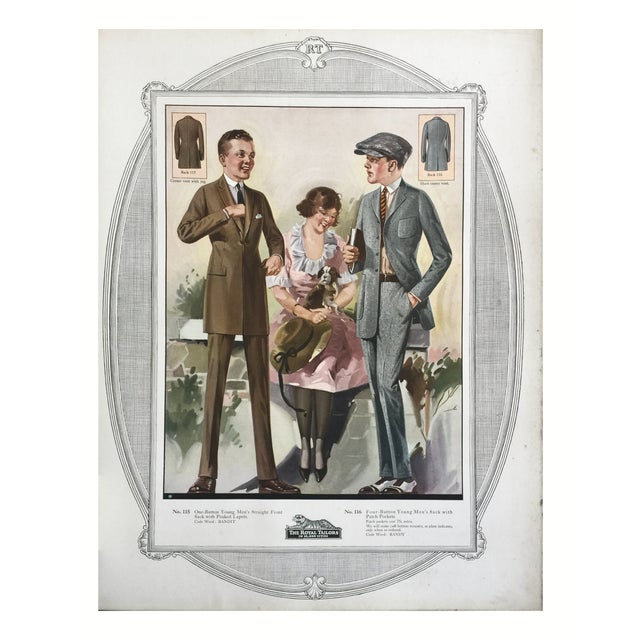 Original color lithograph for a custom tailor's shop's fashions from 1923. Includes order instruction and prices....