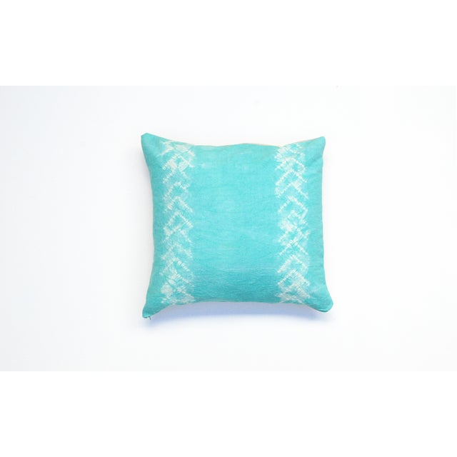 Hand Dyed Nui Shibori Pillow Cover in Aqua - Image 2 of 6