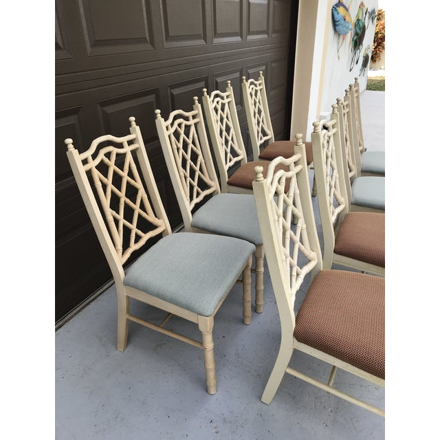 1960s Vintage Chinoiserie Faux Bamboo Dining Chairs- Set of 8 For Sale - Image 9 of 10