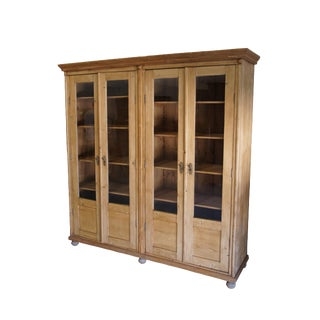 19th Century European Waxed Pine Glass Front Bookcase Biblioteque Country For Sale