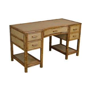 Vintage Rattan Writing Desk For Sale