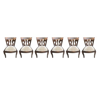 Hand Carved Wood Back Chairs - Set of 6