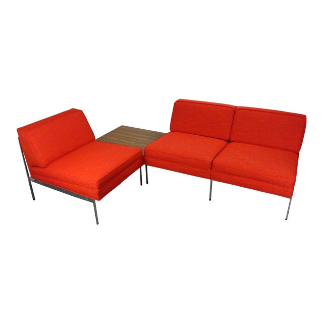 Mid-Century Modern Robert John Company Two Piece Chrome Sectional with Attached Side Table For Sale
