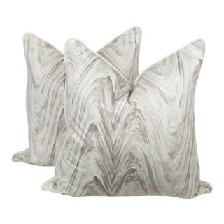 Marble Linen Blend Swirl Pillows, a Pair For Sale