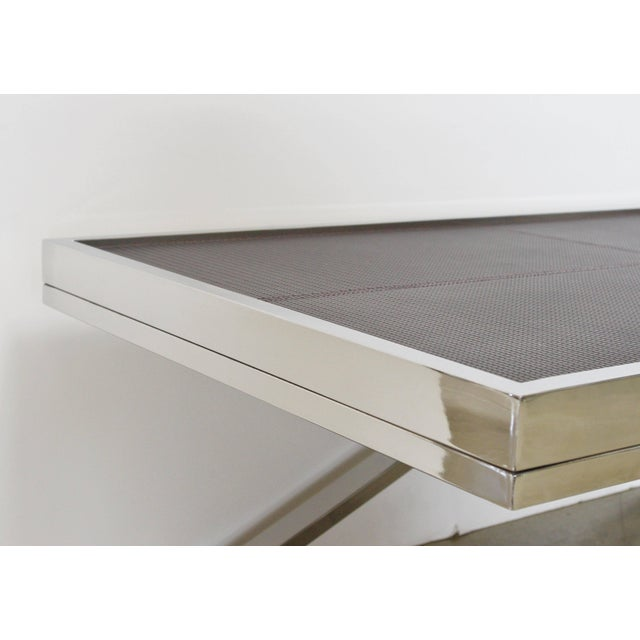 Early 21st Century Dark Brown Leather and Stainless Steel Coffee Table by Fabio Ltd For Sale - Image 5 of 7
