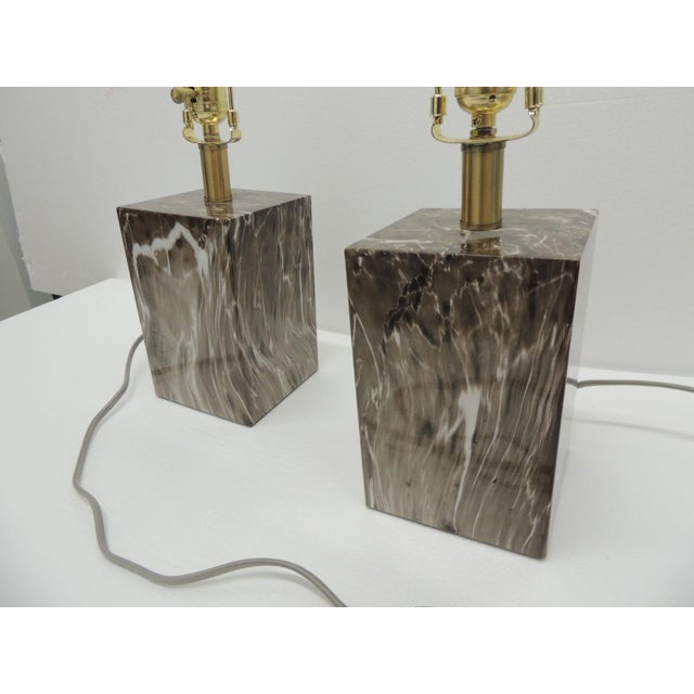 Pair of Marbelized Squared Table Lamps Bases in brown and white Size: 5 x 5 x 20 H (to the top of the finial) Base height...
