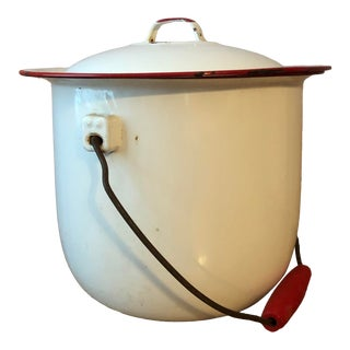 Antique White and Red Enamelware Chamber Pot For Sale