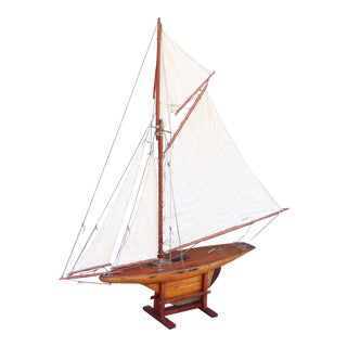 Large Antique English Pond Yacht