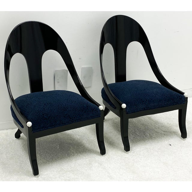 Black Lacquered Modern Horseshoe Back Chairs Att. To Michael Taylor for Baker - a Pair For Sale - Image 8 of 8