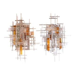 Mid-Century Modern Veronese Glass Sconces with Silvered Iron Fittings, Poliarte - a Pair For Sale