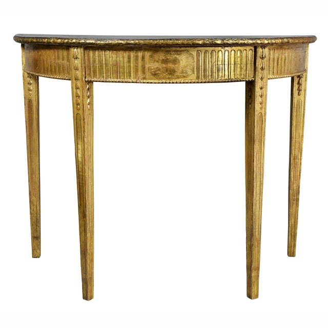 George III Giltwood Demilune Console Table For Sale - Image 9 of 9