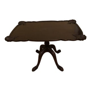 Shell Carved Pedestal Coffee Table For Sale