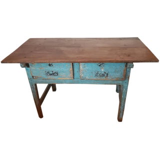 19th Century Rustic Spanish Distressed Painted Console For Sale