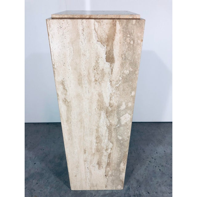 1970s Mid-Century Modern Italian Travertine Pedestal Table For Sale In Miami - Image 6 of 10