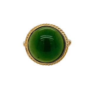 Vintage 14k Gold Cabochon Jade Ring For Sale