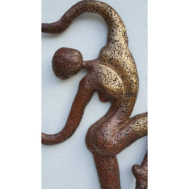 Overscale Brutalist Abstract Acrobats Bronze Wall Sculptures a Pair. - Image 3 of 11