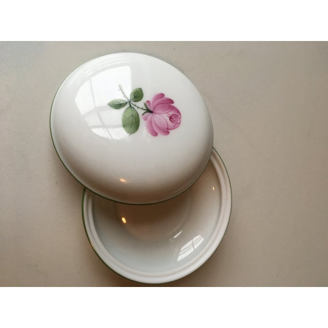 "This Wien ""Powder Box"" is both exquisite and rare - hand-painted pink rose covered Box for your trinkets or jewelry is..."