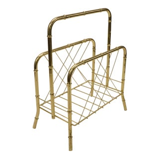 Vintage Faux Bamboo Style Brass Plated Magazine Rack For Sale